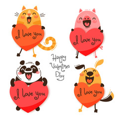 Set of cute animals with valentines. Funny cat, pig, panda and dog confess I love you. Isolated vector illustration for Valentines Day designs