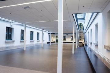 an empty library corridor