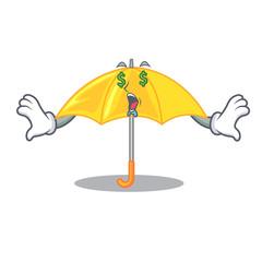 Money eye classic yellow umbrella in shape cartoon