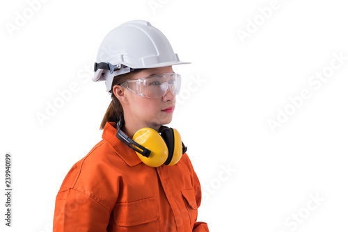 bcbd8d1e261 portrait of a woman worker in Mechanic Jumpsuit isolated on white background