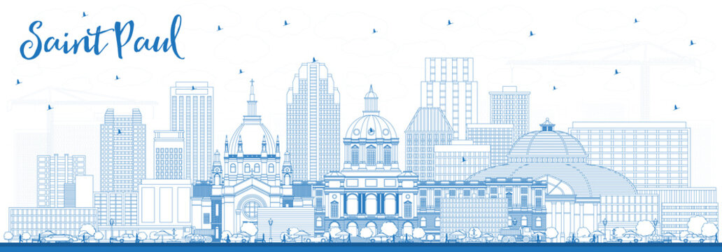 Outline Saint Paul Minnesota City Skyline with Blue Buildings.