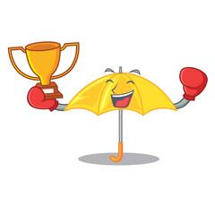 Boxing winner classic yellow umbrella in shape cartoon
