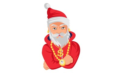 Vector cartoon illustration of santa claus with gold accessories . Isolated on white background.