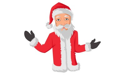 Vector cartoon illustration of santa claus with open hands. Isolated on white background.