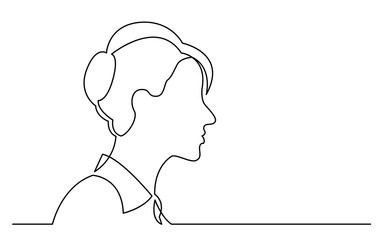 continuous line drawing of isolated on white background profile portrait of ordinary woman