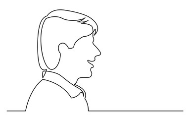 continuous line drawing of isolated on white background profile portrait of smiling young man