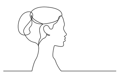 continuous line drawing of isolated on white background profile portrait of young beautiful woman Fototapete
