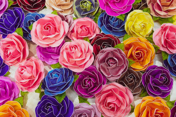 Silk  Roses Flowers Background