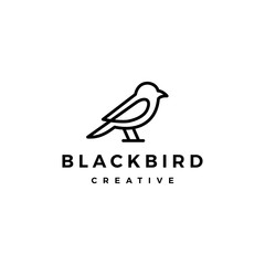 bird logo vector line outline monoline art icon