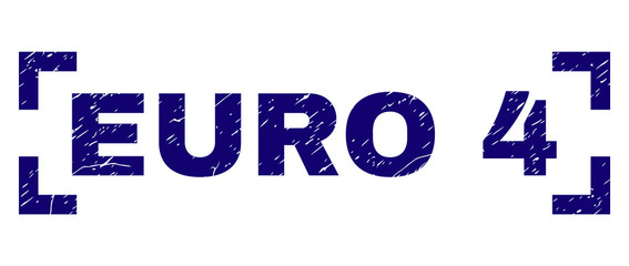 EURO 4 text seal print with grunge texture. Text tag is placed inside corners. Blue vector rubber print of EURO 4 with retro texture.