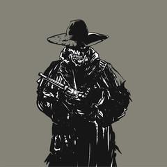 Outlaw skull cowboy illustration