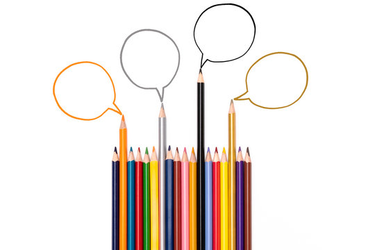 Community communication, represents people conference, social media interaction & engagement. group of pencils sharing idea on the white background with copy space