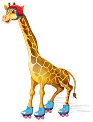 A giraffe ice skating