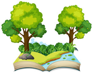 Isolated open book nature theme