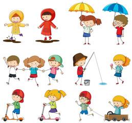 Set of doodle kids character