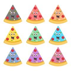 Pizza slice sign, Pizza slice cartoon mascot icon or logo, color set