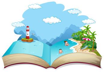 Open book summer beach holiday theme