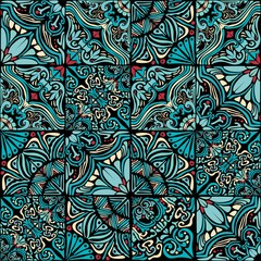 Blue, turquoise, yellow colored ornament of irregular mosaic tiles. Seamless vector pattern.