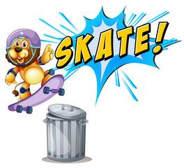 Lion skateboarding over a trash can