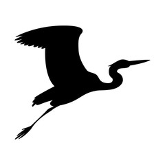 heron  flying, vector illustration ,  black silhouette