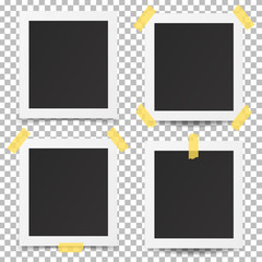Old photo frames isolated on transparent background.