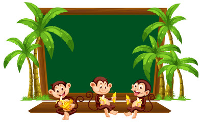 Three monkey on blackboard template