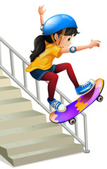 A girl skateboarding on te stairs