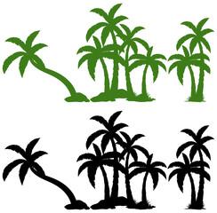Set of palm tree