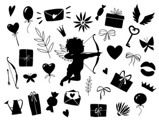Valentines day set, objects for concept and design, vector illustration flat, black. Heart, key, bow, crown, butterfly, sweets, cupid, love letter and gifts.