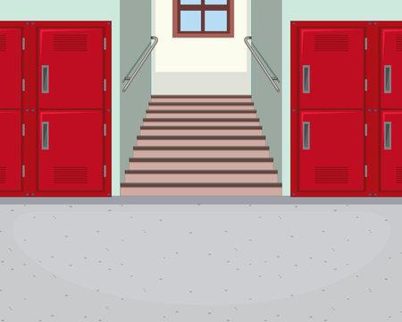Empty school hallway background