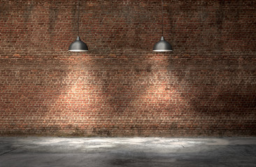 An interior with a red brick wall and concrete floor and a lamp. 3d render