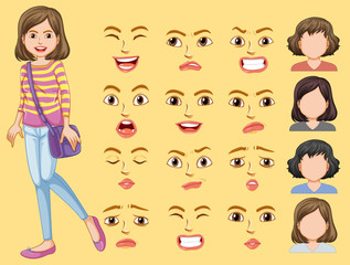 Girl with different facial expression