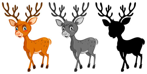 Set of reindeer character
