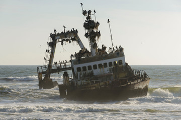 Old wreck of fishing vessel Zeila in Namibia