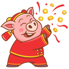 Vector illustration of cartoon pig - Chinese New Year