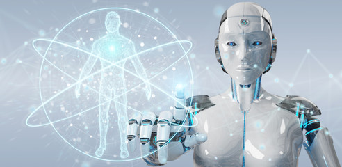 White woman robot scanning human body 3D rendering