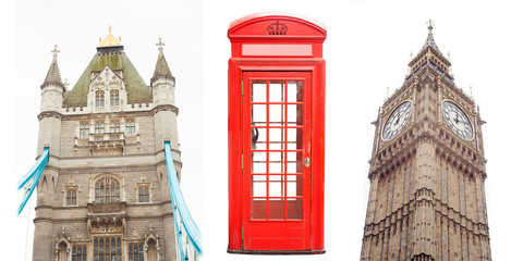 set of London city landmarks as Bridge, telephone booth and Big Ben isolated
