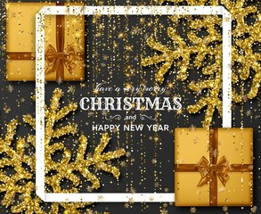Merry Christmas background with shiny golden snowflakes, gift boxes and gold colored tinsel and streamer. Greeting card and Xmas template