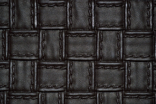 Textured braided leather close up