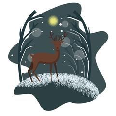 Winter night illustration with deer