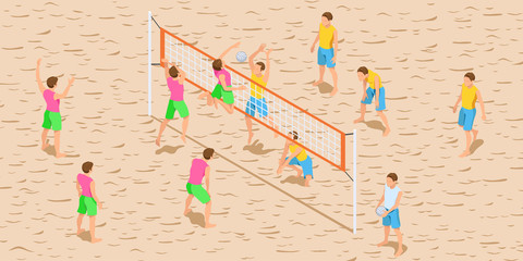 Volleyball Game Isometric Illustration