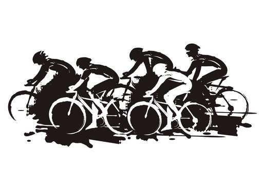 Cycling race, expressive Stylized.  Illustration of cyclists in full speed. Imitation of hand drawing. Isolated on white background.Vector available.