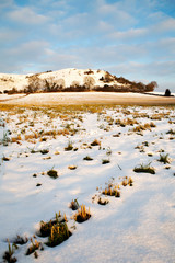 Cley hill in the snow, in Wiltshire, Uk