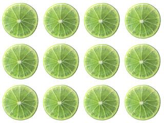 Juicy lime slice circle shape alignment isolated on white background