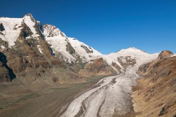 The Großglockner peak and Pasterze Glacier in Austria