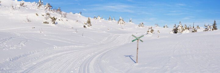 Wall Mural - Cross-country trail through a snowy landscape in Trysil, Norway