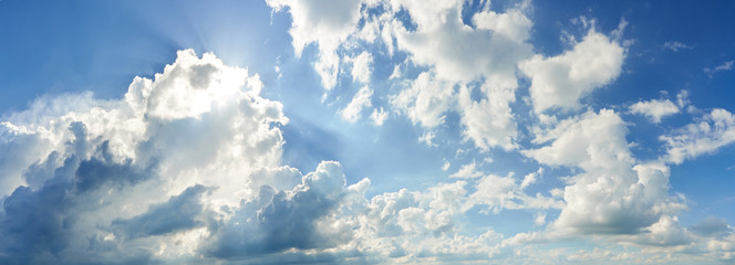 Panoramic View of Summer Blue Sky and White Clouds on sunny Day