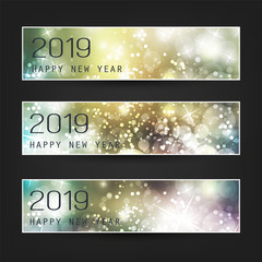Set of Horizontal Christmas, New Year Headers or Banners - 2019