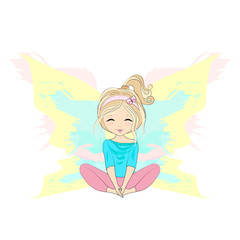 Young woman sitting in butterfly asana. Pretty girl practicing yoga. Cartoon flat style vector illustration.