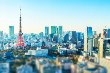 Fototapete - tokyo skyline aerial view with tilt shift effect